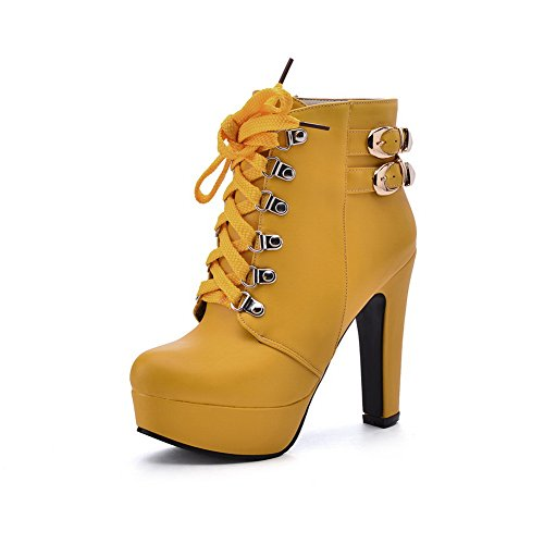 Leather Buckles BalaMasa Yellow Bandage Metal Platform Boots Studded Rhinestones Girls Imitated HRfqR817w