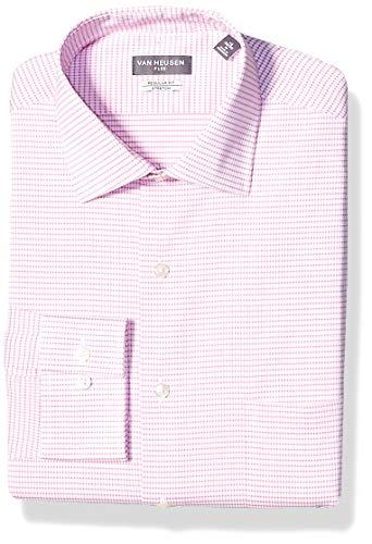 (Van Heusen Men's Dress Shirt Regular Fit Flex Collar Stretch Check, Pink Glaze, 17.5