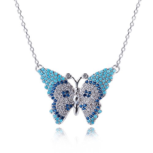 Blue Butterfly Pendant Necklace Pave Circonia Necklace Sterling Silver Butterfly Necklace Butterfly Charm (Butterfly Charm Pave)