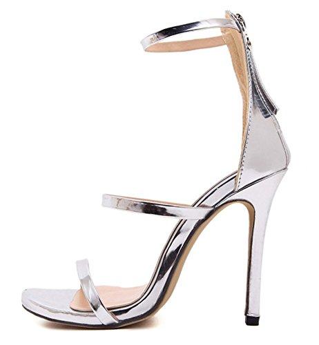 Aisun Donna Sexy Scava Fuori Punta Aperta Tacchi Posteriore Con Cerniera Dress Sandali Stiletto Scarpe Con Tacchi Alti Con Cinturini Alla Caviglia Argento