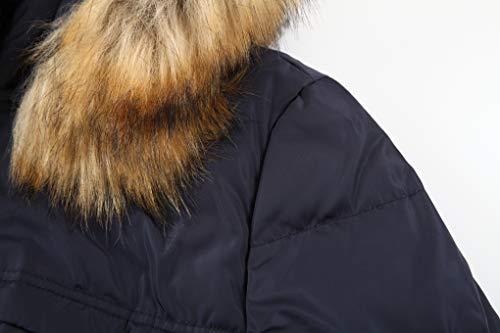 883fec4d1da valuker Women's Down Coat with Fur Hood 90D Parka Puffer Jacket 57-Navy-L