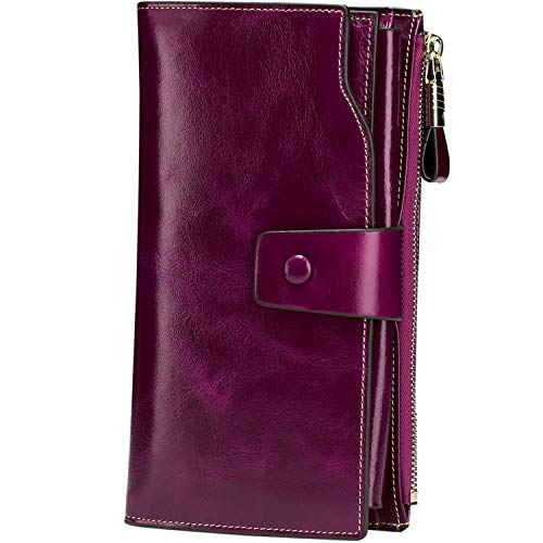 Itslife Women's RFID Blocking Large Capacity Luxury Wax Genuine Leather Cluth Wallet Ladies Card Holder (Fuchsia RFID Blocking) ()