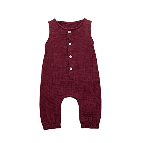 Amazon.com: Newborn Baby Girl Summer Cotton Linen Sleeveless Romper ...