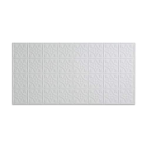 Fasade Easy Installation Traditional 1 Gloss White Glue Up Ceiling Tile / Ceiling Panel (2' x 4' ()