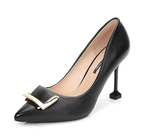 DANDANJIE Zapatos para Mujer Zapatos de tacón Alto Heel Square Negro Zapatos de tacón de Aguja Moda Otoño Negro