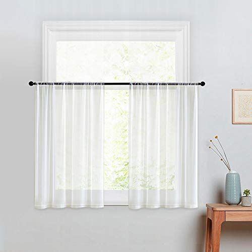 MRTREES Kitchen Tier Curtains Sheer 24 inches Long Off White Window Curtain Tiers Bathroom Small Window Voile Cafe Curtains Short Sheers Rod Pocket 2 Panels Basement Half Window Curtains (White Window Off Sheers)