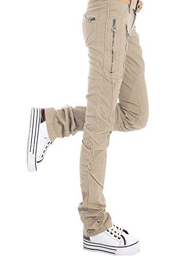 AUSZOSLT Women's Double Zipper Combat Cargo Cotton Military Trousers Skinny Pants Jeans Beige 16