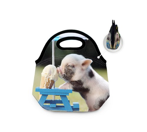 Cute Pig Eat Ice Cream Lonchera big insulated lunch bag Neoprene Reusable tote