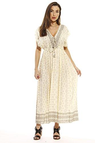 21620-BG-2X Riviera Sun Summer Dresses,Beige / Grey,2X