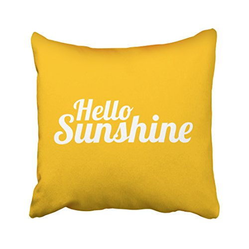 (soopat Soft Soild Decorative Square Throw Pillow Covers Set Cushion Case hello sunshine for Sofa Bedroom Car 16 x 16 Inch 41 x 41 Cm)