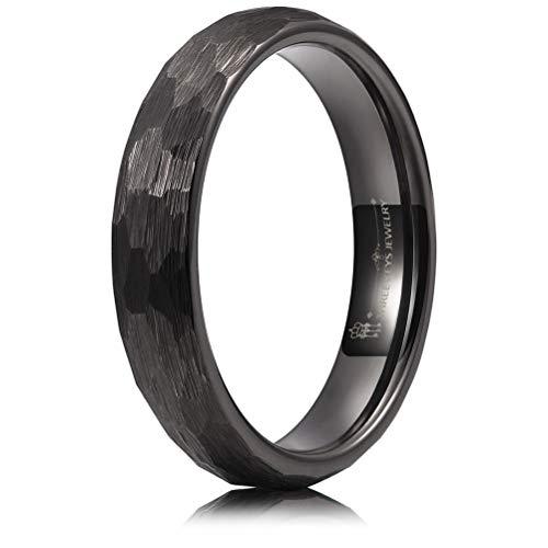 THREE KEYS JEWELRY 4mm Hammered Irregular Diamond-Shaped Brushed Black Tungsten Wedding Ring Engagement Band Domed Size 11