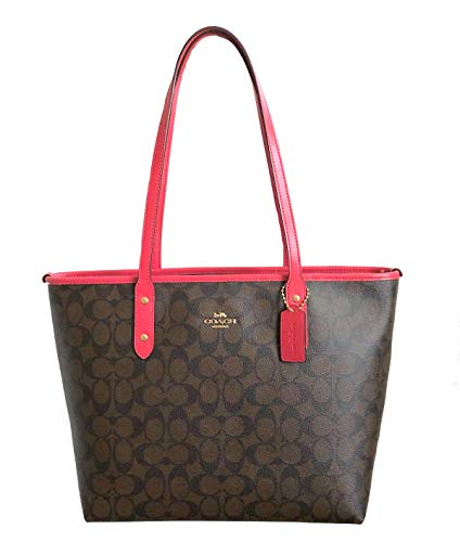 Coach Signature City Zip Tote Bag Handbag (Brown Strawberry)