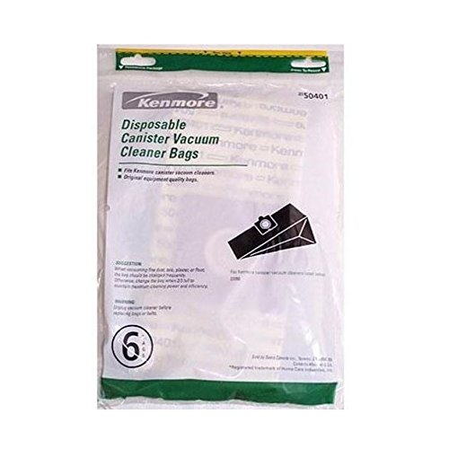 Kenmore Disposable Canister Vacuum Cleaner Bags 50401, 6-count