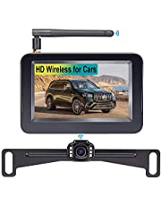 LeeKooLuu L01 HD Wireless Backup Camera and 4.3'' Monitor System for Cars/ATVs/SUVs/UTVs/Can-Am IP69 Waterproof 6 LED Light Night Vision Rear/Front View with Grid Lines DIY Setting