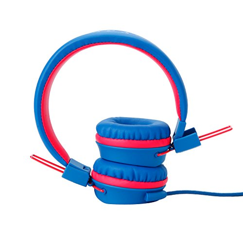 Yomuse F85 On Ear Foldable Headphones with Microphone for Kids Teens Adults, Smartphones iPhone iPod iPad Laptop Tablets Mp3/4 Blue Red by Yomuse (Image #2)