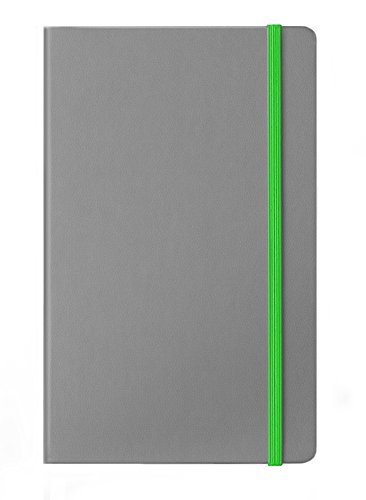 Bicast 2 (2 Pack Premium Modern Notebook Journal with Great Feel Bicast Leather Cover Gray with Green Band (A5 Approx 5 inch x 8.25 inch) Ruled Pages)