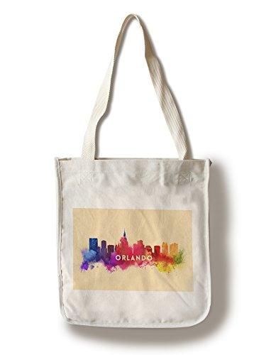 Lantern Press Orlando, Florida - Skyline Abstract (100% Cotton Tote Bag - Reusable)