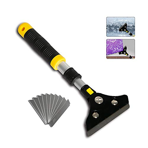 POLUTS Paint Scraper Long Heavy Duty Wallpaper Removal Tool Adjustable 11-14.5 Inch Floor Scraper for Removing Floor Tile Wall Window Adhesive Glue Snow Ice Mover