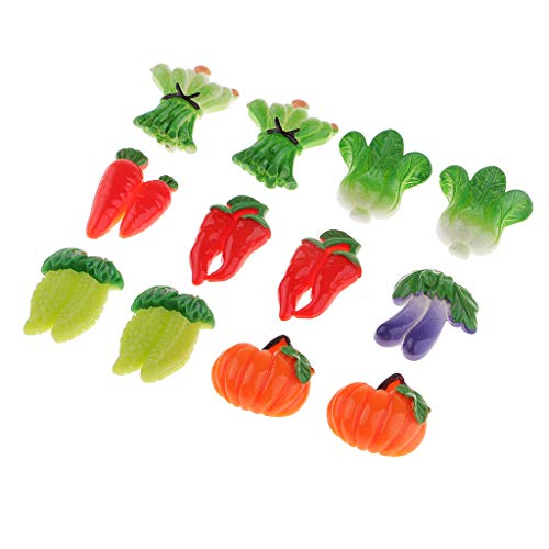 Fityle 12pcs Cartoon Cute Vegetable Design Necklace Earrings Bracelets Accessory DIY Crafts Supply Kids Gifts Shop Display ()