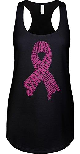 Blittzen Womens Tank Hope Love Strength Courage Ribbon, M, Black