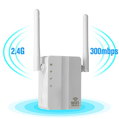 WiFi Range Extender,300Mbps Fast Speed WiFi Booster Wireless Repeater with High Gain Dual External Antennas and 360 degree WiFi Coverage by OfficeLead