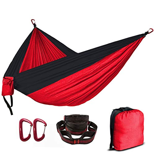 (Yoilsntsg People Portable Parachute Hammock Camping Survival Garden Flyknit Hunting Leisure Hamac Travel Double Person Hamak Red and Black)