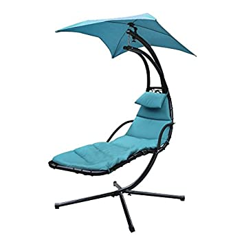 Hanging Chaise Lounger Chair Arc Stand Air Porch Swing Hammock Dream Chair  With Canopy (blue