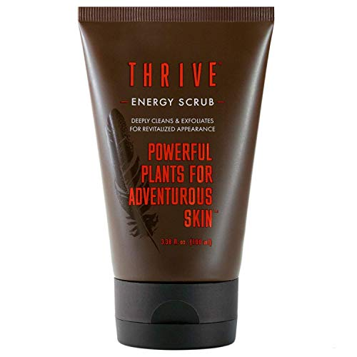 Thrive Natural Face Scrub for Men – Exfoliating Facial Cleanser for Men with Unique Premium Natural Ingredients for Healthier Skin – Unclogs Pores & Helps Prevent Ingrown Hairs