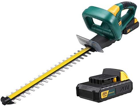 URCERI 20V MAX Cordless Hedge Trimmer with Extra Lithium Battery 2.0 Amp Hour