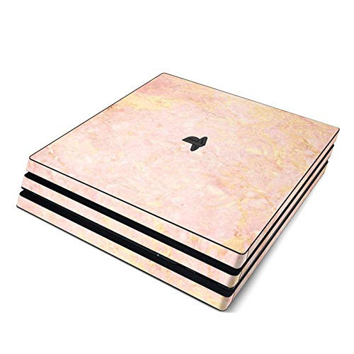 Rose Gold Marble Full Faceplates Skin Decal Wrap with 2 Piece Lightbar Decals for Playstation 4 Pro from DecalGirl