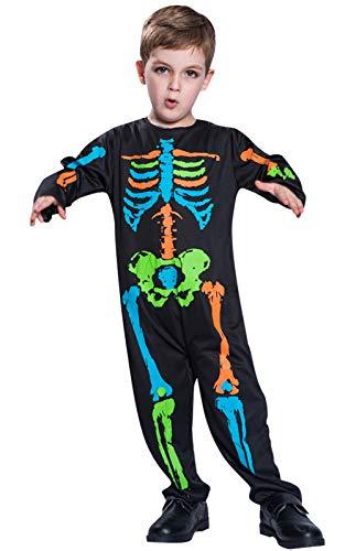 Child Skull Halloween Cosplay Costume Jumpsuit Cute Color Bones Scary Onesie Suit ()