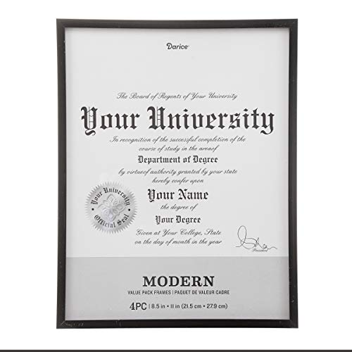 - Darice Modern Document Frames: 8.5 x 11 inches, Black, 4pcs