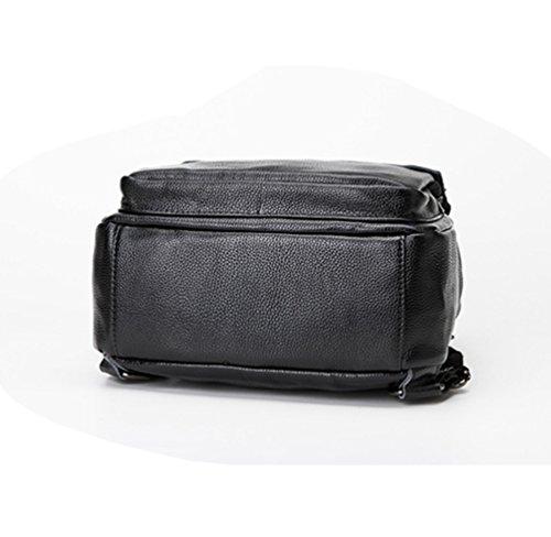NiSeng Damen Rucksack Pu Leder Rucksack Tasche Backpack Schulrucksack Satchel Daypack Schwarz CIT477sl