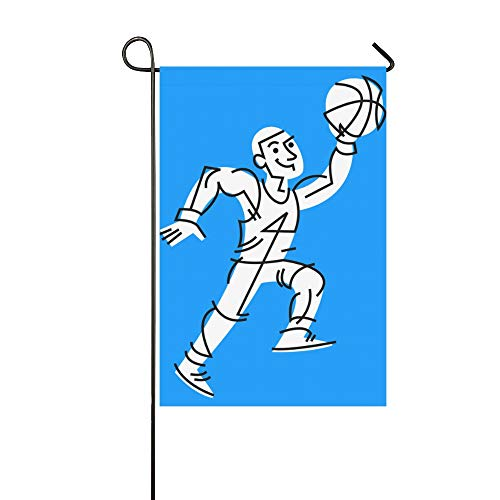 KUneh Home Decorative Outdoor Garden Flag Camping Double Sided Print Sports Handsome Playing Slam Dunk Boy Monogram Garden Flag Holiday Garden Flags 12x18 Inch Spring Summer Gift
