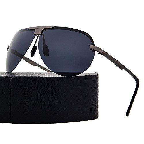 RONSOU Men Women Aviator Sunglasses Polarized UV400 Protection with Accessories Hard Gift Case gray frame/gray - Darren Sunglasses Criss