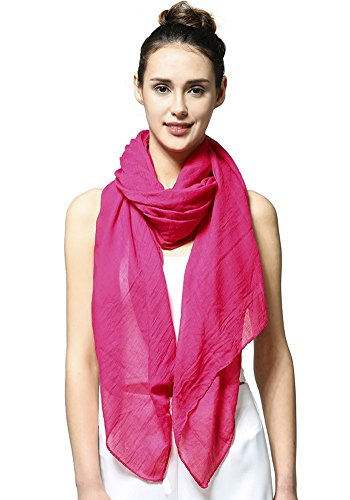 MissShorthair Womens Long Scarf in Solid Color Large Sheer Shawl Wraps for Evening -