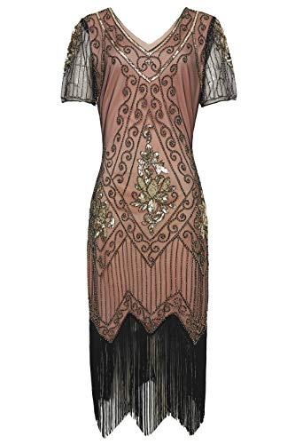 BABEYOND 1920s Art Deco Fringed Sequin Dress 20s Flapper Gatsby Costume Dress (Coral Gold, Large)]()