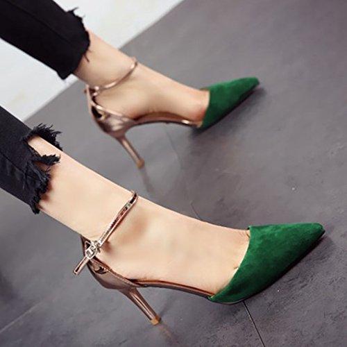 FLYRCX Sexy moda personalidad simple parte del calzado de trabajo Calzado green