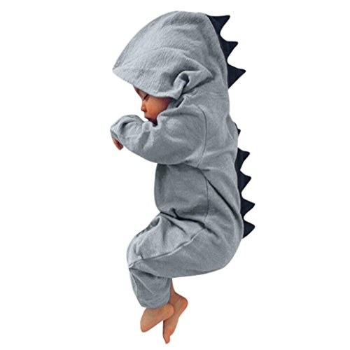 RedBrowm Newborn Infant Baby Boy Girl Lovely Cartoon Dinosaur Hooded Romper Jumpsuit Outfits Clothes Bodysuit (3 Months, Gray)