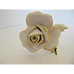 Sterling Gifts ITALIAN GOLD PLATED & PAINTED PORCELAIN WHITE GOLD LONG STEM ROSE FLOWER 24