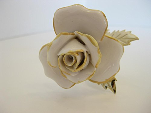 - Sterling Gifts ITALIAN GOLD PLATED & PAINTED PORCELAIN WHITE GOLD LONG STEM ROSE FLOWER