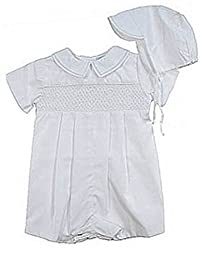 Smocked, Embroidered Christening Romper Outfit for Boys
