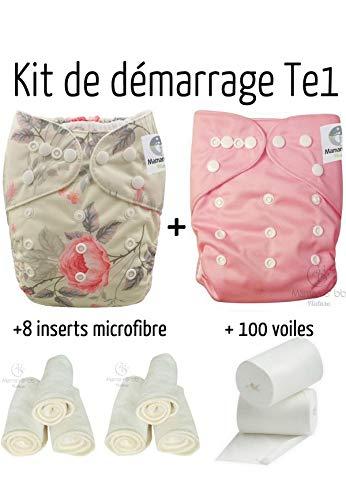 Maman et bb Nature - Pack de dé marrage Couches lavables insert et voiles de protection - Kit Romantique