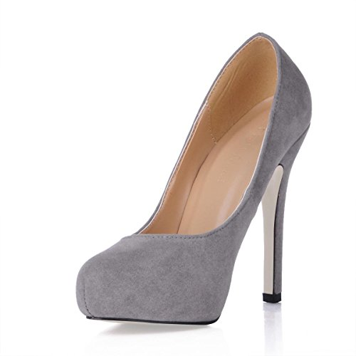 Suede 1CM Heel Shoes Stiletto Winter 11CM Best Women's Fall Solid Grey Sole Rubber Round Platform 4U Color Toe High 7qtvH