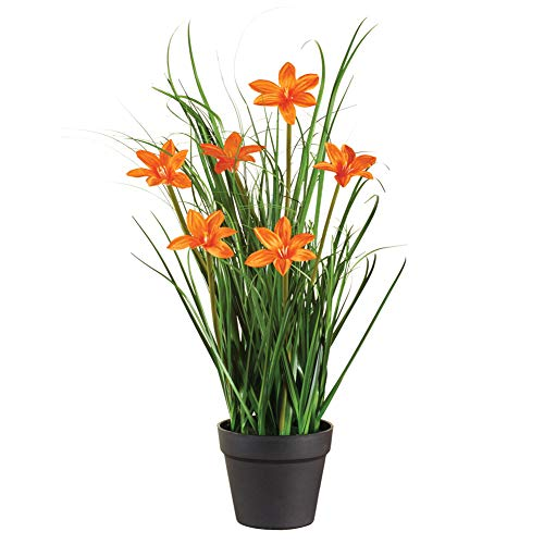 (Faux Large Blossom Daylily Potted Plant - Outdoor or Indoor Decorative Accent, Orange)