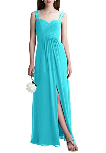 Beauty Bridal Elegant Sweetheart Chiffon Slit Long Bridesmaid Dress Wedding Evening Dress (10,Turquoise)