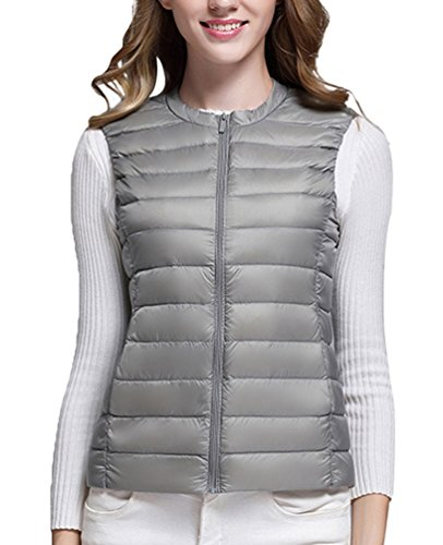 Warm Collar Autumn Gray Quilted Packable Jackets Womens Sleeveless LvRao Gilet Round Down Ultralight Vest z1YwqvnF