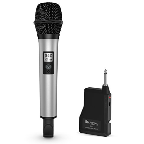 Microphone Wireless 900mhz (Fifine 20 Channel UHF Handheld Wireless Microphone For Church, Home Karaoke, Business Meetings. Easy To Set Up.(K035))