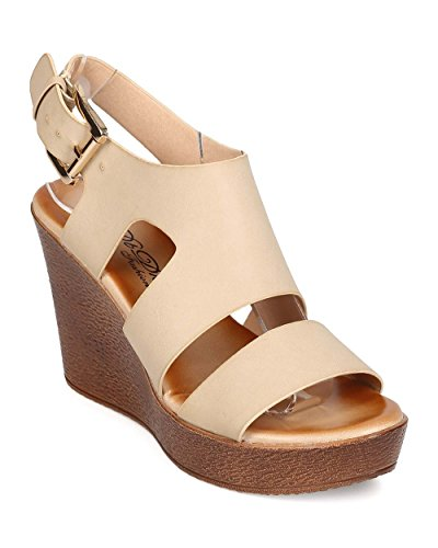 DBDK Women Leatherette Open Toe Caged Wooden Platform Wedge Sandal EH37 - Nude (Size: 10)