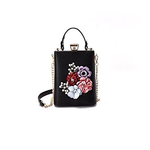 Women's Flower Evening Bag Pearl Beaded Clutches Banquet Handbag (Black)